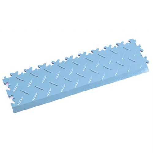 Light Blue Diamond Plate - Interlocking Tile Edging